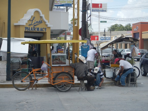 These vendors bike their way down the street and sell sweet coconut and milk candy. They also have snow cones and cooked corn on the cob. The corn on the cob is served with a spread of mayonnaise, spritz of lime, & sprinkled with powdered white cheese.