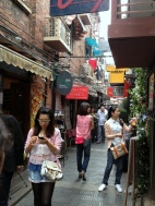 One of many narrow shopping lanes. Very nice area.
