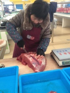Beef, chicken, & pork are among many of the meat selections you can find at the open market.