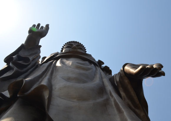 Standing right under the statue