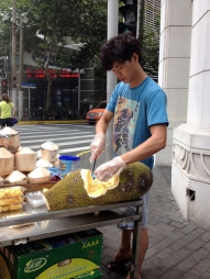 Durian fruit - we could smell the fruit a block away (slight exaggeration). What does it smell like? Imagine the smell of a couple of dirty shoes/socks stuck in a bag. Now pretend you are opening the bag and vapors of the nasty smelling odor slowly oozing out... yup, it smells like that.