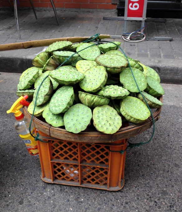 The street vendor was selling the seed heads for only 3 RMB a piece. That's the equivalent of $.50