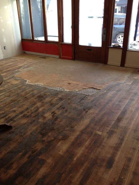 This is what the floors looked like before the re-finishing started.